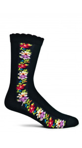 Nordic Stripe Ozone Women's Crew Socks Black New X-Large Diva 8.5 -12 Fashion
