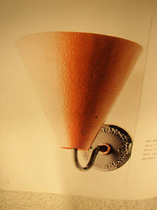 MID CENTURY MOD HAND HAMMERED COPPER AND STEEL WALL SCONCE SIGNED BERNARD COLLIN