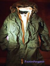 NEW! Abercrombie & Fitch Hollister Womens Sherpa-Lined Twill Parka OLIVE,  M / S