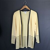 Exclusively Misook Medium Open Front Cardigan Striped Yellow Blue Tunic Length