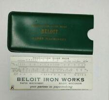 VTG BELOIT IRON WORKS PAPER MACHINERY METRIC PRODUCTION SLIDE RULE - Beloit WI