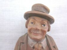 Antique Anri Wood Carving Figurine Man Villager Italy