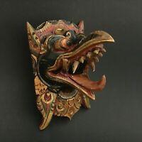 Garuda Bird Indonesia Black Mask Hindu Balinese Wood Carving Wall Art Hanging
