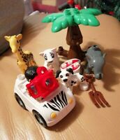 LEGO DUPLO SAFARI SET GIRAFFE ELEPHANT WHITE TIGER TREE JEEP TOURIST LOVELY SET