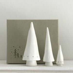 Porcelain Conical Standing Christmas Trees | East of India Decoration Set of 3