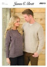 Ladies and Man's Sweaters JB213 Knitting Pattern James C Brett Aran