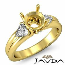 3 Stone Fine Diamond Trillion Round Mount Engagement Ring 18k Yellow Gold 0.6Ct