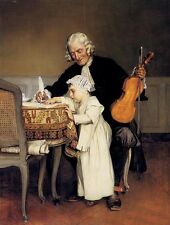 No framed Oil painting male portrait The Music Lesson Grandfather and grandson