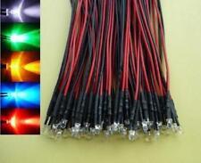 (50 pcs) Mixed Color 3mm Wired LED Light 12V 9V red white blue green yellow 5V