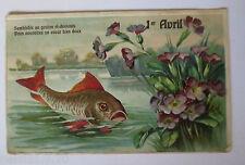 """""""1 April, Aprilscherz, Fisch, See, Blumen"""" 1907, Prägekarte ♥ (29557)"""