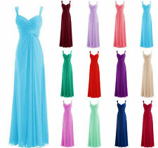 Long Chiffon Evening Formal Party Ball Gown Prom Bridesmaid Dress Stock Size6-22