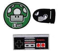 Nintendo Bullet-Controller-1 Up Mushroom Retro Classic IRON ON Patch BUNDLE 3PC
