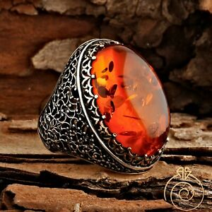 Mens Fire Amber Gemstone Big Rings For Men Unique Carved Silver Resin Jewelry