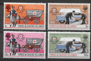TURKS & CAICOS ISLANDS , 1970, RED CROSS ,  SET OF 4., PERF , MNH