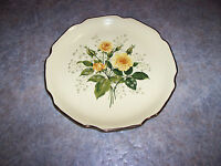 """(4) Sabin Cathy Yellow Rose Coupe Gold Trim Scalloped 9"""" Dinner Plates EUC Rare!"""