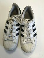 N656 WOMENS ADIDAS SUPERSTARS WHITE PURPLE LEATHER LACE UP TRAINERS UK 5 EU 38