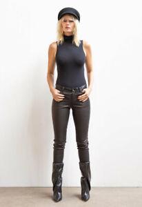 Women's Real Sheepskin Black Leather Pant Zip Slim Fit Vintage Trousers Everyday