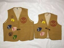 YMCA Father & Son Indian Guide Vests Patches Pins 1970's Set Of 2 Velvasheen