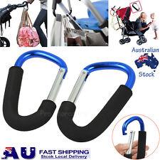 2pcs PRAM HOOK Baby Stroller Shopping Bag Clip Carrier Carabiner Large Hangers