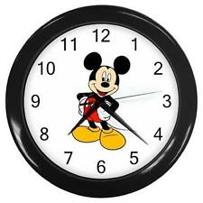 "Brand New Mickey Mouse Black Frame 10"" Round Wall Clock"