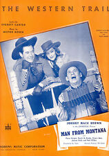 "MAN FROM MONTANA Sheet Music ""The Western Trail"" Johnny Mack Brown"