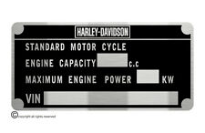 HARLEY DAVIDSON MOTORCYCLE tag M.O.T. plate quality vin-tage new