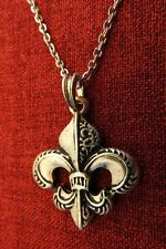 Fleur De Lys Lis Lily French King Knight Medieval Silver Plated Pendant Necklace