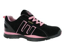 Zapatillas deportivas de mujer planos de color principal negro de ante