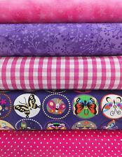 Stoff Baumwolle Patchwork fröhliche Schmetterlinge pink lila Stoffpaket 5x20cm