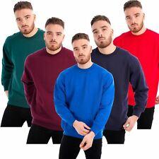 NEW Mens Brushed Fleece Sweatshirt Jumper Heavy Duty Workwear Plain Casual Warm
