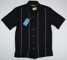 Men's Caribbean size Small S Black Silk Button Up Short Sleeve Shirt NWT