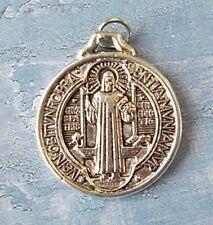 """Medalla De San Benito ~ St Benedict ~ Round Silver tone OX Jubilee 1"""" Medal"""