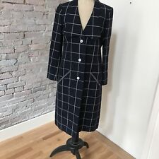 Vintage Geoffrey Beene Coat and Skirt Outfit Suit Navy White Window Pane Plaid 8