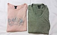 Rue 21 Long Sleeve Shirts Girls Knit Pink and Green Tops Lot of 2 Size Juniors L