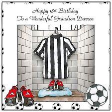 Mens Boys Handmade Personalised Birthday Card  ANY AGE Black & White Football