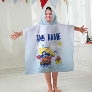 Kids Personalised Hooded Towel Poncho Crab Pirate Ship Childrens Bathrobe Swim