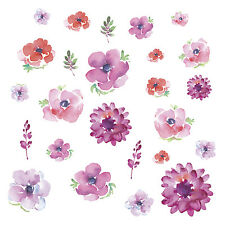 25 New Kathy Davis WATERCOLOR BLOOMS WALL DECALS Flowers Stickers Floral Decor