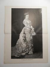 Königin Carola von Sachsen  Dresden   Holzstich von 1882  n. Gemälde Leon Pohle