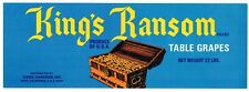 ORIGINAL GRAPE CRATE LABEL VINTAGE INDIO COACHELLA VALLEY 1970S KINGS RANSOM