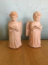 (2)Ceramic Angel Candle Holders Christmas Holiday Home Decor Vintage Korea W/Box