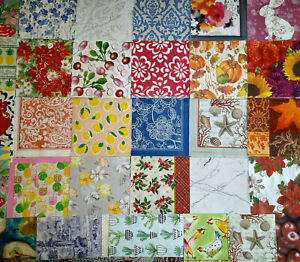 38 Dif. Paper Napkins ~FLORAL NATURE ALL-OVER PATTERNS~ For Art DECOUPAGE Crafts