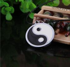 Boho Tai Chi Yin and Yan Pendant Tibetan Silver Leather Cord Choker Necklace JT