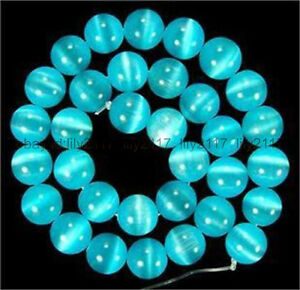 Natural Fashion 8mm Blue Mexican Opal Gemstone Round Cat's Eye Loose Beads 15''