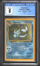 (◍ㅇᆽㅇ◍) 🔥 1999 Pokémon Jungle VAPOREON 12/64 Holo Rare CGC (PSA) 8 NM/Mint