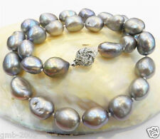 "RARE LARGE 9-10MM SILVER GRAY CULTURED BAROQUE REAL PEARL NECKLACE 18""AAA+"