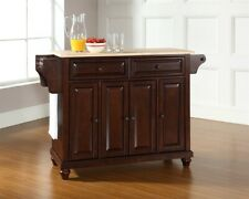 Crosley Cambridge Natural Wood Top Kitchen Island Mahogany, KF30001DMA