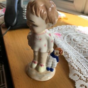 Mabel Luice Attwell Rare Ltd Edition by Shelley Of Little Girl Holding Ragdoll