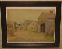 Original Leander M Churbuck 'Street Scene ROCKPORT' Cape ANN Watercolor PAINTING