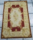 Antique Hand Made French Design Beige Wool Aubusson 182x120cms