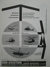 5/1969 PUB SUD AVIATION HELICOPTER ALOUETTE SUPER FRELON PUMA GAZELLE FRENCH AD